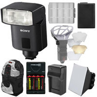 Sony Alpha HVL-F32M Compact Flash with AA NP-FW50 Battery & Chargers + Soft Box + Backpack Kit