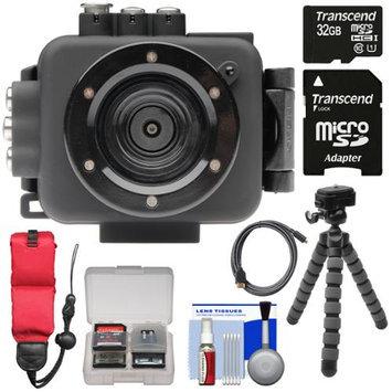 Intova Edge X Waterproof Sports HD Video Camera Camcorder with 32GB Card + Flex Tripod + Float Strap + Kit
