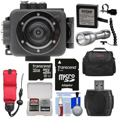 Intova Edge X Waterproof Sports HD Video Camera Camcorder with 32GB Card + Battery + Case + Float Strap + LED Torch & Bracket + Kit