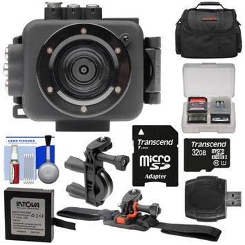 Intova Edge X Waterproof Sports HD Video Camera Camcorder with 32GB Card + Battery + Bike Handlebar & Vented Helmet Mounts + Case + Kit