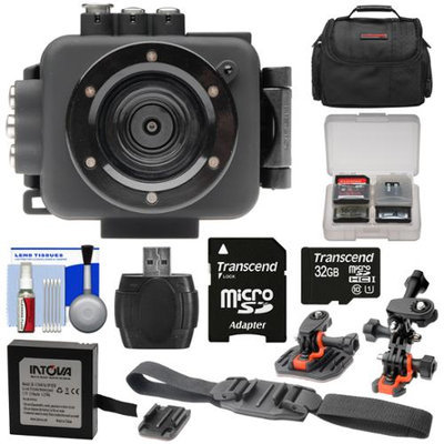 Intova Edge X Waterproof Sports HD Video Camera Camcorder with 32GB Card + Battery + 2 Helmet & Flat Surface Mounts + Case + Kit