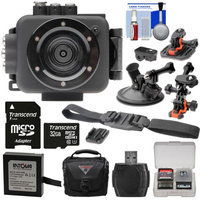 Intova Edge X Waterproof Sports HD Video Camera Camcorder with 32GB Card + Battery + 2 Helmet Flat Surface & Car Suction Cup Mounts + Case + Kit