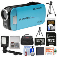 Bell & Howell Slice2 DV7HD 1080p HD Slim Video Camera Camcorder (Blue) with 32GB Card + Battery + Case + Tripods + LED Light + Kit