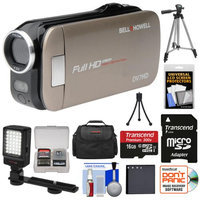 Bell & Howell Slice2 DV7HD 1080p HD Slim Video Camera Camcorder (Champagne) with 16GB Card + Battery + Case + Tripods + LED Light + Kit