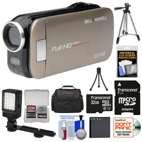 Bell & Howell Slice2 DV7HD 1080p HD Slim Video Camera Camcorder (Champagne) with 32GB Card + Battery + Case + Tripods + LED Light + Kit