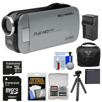 Bell & Howell Slice2 DV7HD 1080p HD Slim Video Camera Camcorder (Gray) with 32GB Card + Battery + Charger + Case + Flex Tripod + Kit