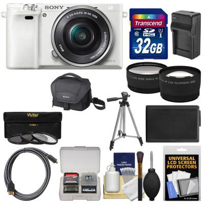 Sony Alpha A6000 Wi-Fi Digital Camera & 16-50mm Lens (White) with 32GB Card + Case + Battery/Charger + Tripod + Tele/Wide Lens Kit with SONY USA Warranty