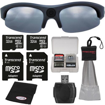 Coleman VisionHD G3HD-SUN 1080p HD Weatherproof Action Polarized Sunglasses with (2) 32GB Cards + Anti-Fog Cloth + Spudz + Kit