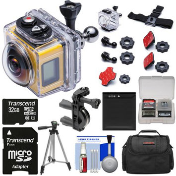 Kodak PixPro SP360 Wi-Fi HD Video Action Camera Camcorder - Aqua Sport Pack + 197' Underwater Housing + Handlebar/Bike Mount + 32GB Card + Battery + Case + Tripod Kit