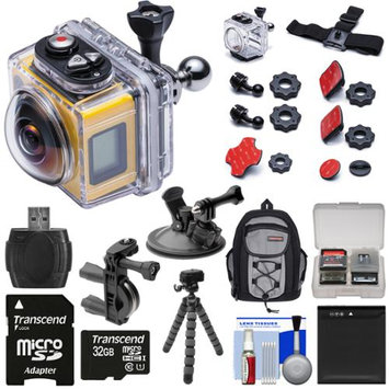 Kodak PixPro SP360 Wi-Fi HD Video Action Camera Camcorder - Aqua Sport Pack with Handlebar Bike & Suction Cup Mounts + 32GB Card + Battery + Backpack + Tripod + Kit