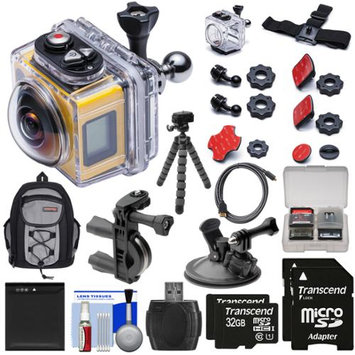 Kodak PixPro SP360 Wi-Fi HD Video Action Camera Camcorder - Aqua Sport Pack with Handlebar Bike & Suction Cup Mounts + 64GBs + Battery + Backpack + Tripod + Kit