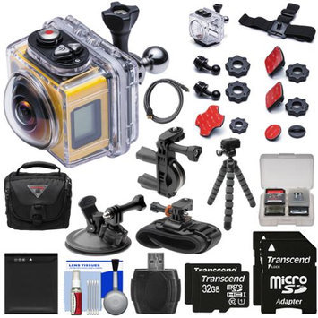 Kodak PixPro SP360 Wi-Fi HD Video Action Camera Camcorder - Aqua Sport Pack with Handlebar Wrist & Suction Cup Mounts + 64GBs + Battery + Case + Tripod + Kit
