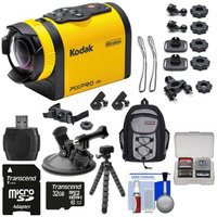 Kodak PixPro SP1 Video Action Camera Camcorder - Explorer Pack with Suction Cup Mount + 32GB Card + Backpack + Tripod + Kit