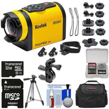 Kodak PixPro SP1 Video Action Camera Camcorder - Aqua Sport Pack with Handlebar Bike Mount + 32GB Card + Case + Tripod + Kit