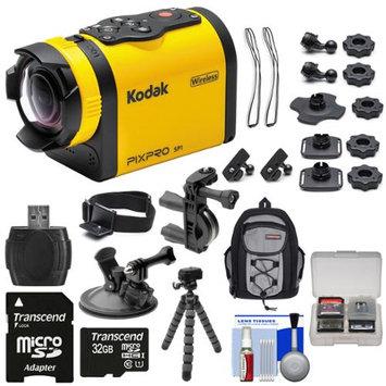 Kodak PixPro SP1 Video Action Camera Camcorder - Aqua Sport Pack with Handlebar Bike & Suction Cup Mounts + 32GB Card + Backpack + Tripod + Kit