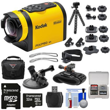 Kodak PixPro SP1 Video Action Camera Camcorder - Aqua Sport Pack with Suction Cup & Wrist Mounts + 32GB Card + Case + Flex Tripod + Kit