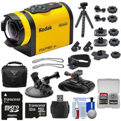 Kodak PixPro SP1 Video Action Camera Camcorder - Aqua Sport Pack with Suction Cup & Wrist Mounts + 32GB Card + Case + Flex Tripod + Kit