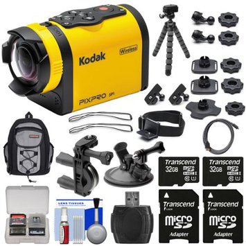 Kodak PixPro SP1 Video Action Camera Camcorder - Aqua Sport Pack with Handlebar Bike & Suction Cup Mounts + 64GBs + Backpack + Tripod + Kit