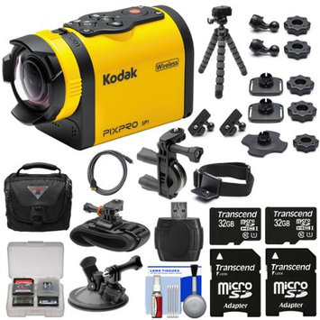 Kodak PixPro SP1 Video Action Camera Camcorder - Aqua Sport Pack with Handlebar Wrist & Suction Cup Mounts + 64GBs + Case + Tripod + Kit
