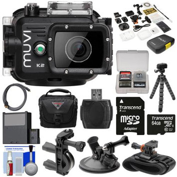 Veho Muvi K2 Wi-Fi Waterproof HD Video Action Camera Camcorder & 100m Underwater Housing with 64GB Card + Suction Cup Handlebar & Wrist Mounts + Battery + Tripod + Case + Kit