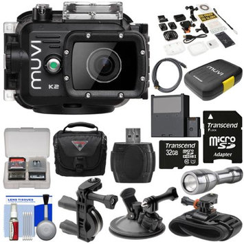 Veho Muvi K2 Wi-Fi Waterproof HD Video Action Camera Camcorder & 100m Underwater Housing with 32GB Card + Suction Cup Handlebar Bike & Wrist Mounts + Battery + LED + Case + Kit
