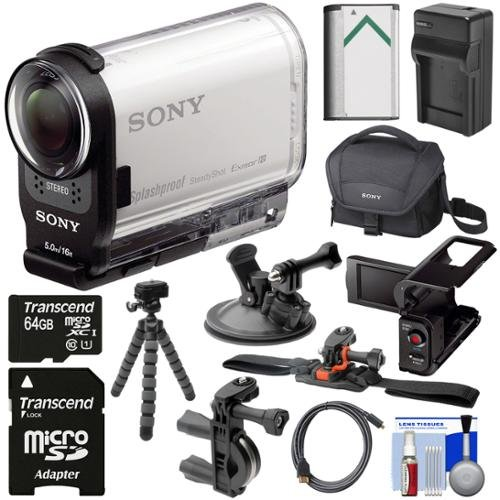 Sony Action Cam HDR-AS200V Wi-Fi HD Video Camera Camcorder with LCD + 64GB Card + Helmet Handlebar & Suction Cup Mounts + Battery + Charger + Kit