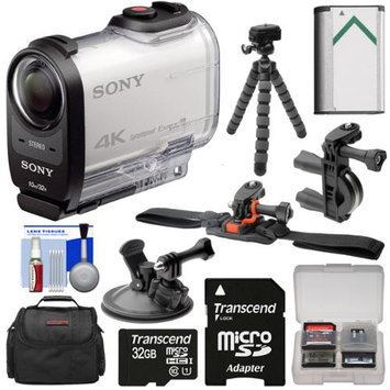 Sony Action Cam FDR-X1000V Wi-Fi 4K HD Video Camera Camcorder with 32GB Card + Helmet Handlebar & Suction Cup Mounts + Battery + Case + Tripod + Kit