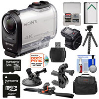Sony Action Cam FDR-X1000VR Wi-Fi 4K HD Video Camera Camcorder & Live View Remote with 32GB Card + Helmet Handlebar & Suction Cup Mounts + Battery + Case + Tripod + Kit