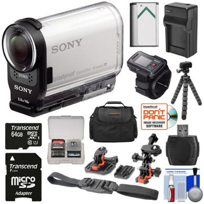 Sony Action Cam FDR-X1000VR Wi-Fi 4K HD Video Camera Camcorder & Live View Remote with 64GB Card + 2 Helmet & Flat Surface Mounts + Battery + Charger + Case + Tripod + Kit