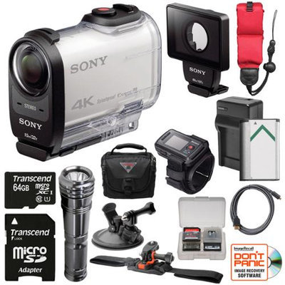 Sony Action Cam FDR-X1000VR Wi-Fi 4K HD Video Camera Camcorder & Live View Remote with DDX1 Dive Door + 64GB Card + Helmet & Suction Cup Mounts + Battery + Case + LED + Kit