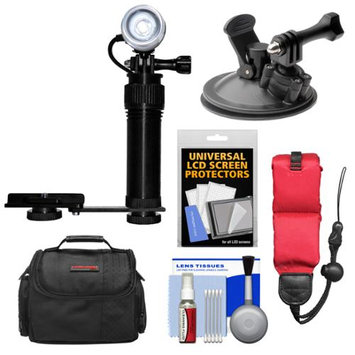Intova Underwater Action Video Light with Camera Bracket Mount with Car Suction Cup Mount + Floating Strap + Case + Kit