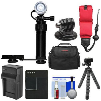 Intova Underwater Action Video Light with Camera Bracket Mount with AHDBT-301 Battery & Charger + Strap + Case + Tripod Kit for GoPro HERO3 & 3+