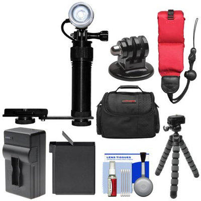Intova Underwater Action Video Light with Camera Bracket Mount with AHDBT-401 Battery + Charger + Floating Strap + Case + Tripod Kit Kit for GoPro HERO4