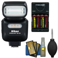 Nikon SB-500 AF Speedlight Flash & LED Video Light with Batteries & Charger + Cleaning Kit