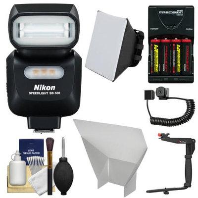 Nikon SB-500 AF Speedlight Flash & LED Video Light with Bracket + Batteries & Charger + Softbox + Reflector Kit