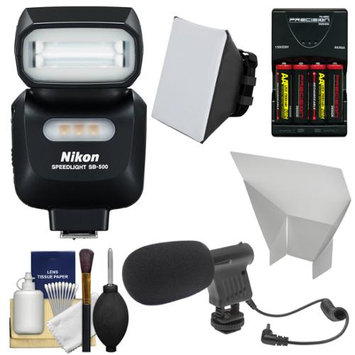 Nikon SB-500 AF Speedlight Flash & LED Video Light with Microphone + Batteries & Charger + Softbox + Reflector Kit