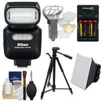 Nikon SB-500 AF Speedlight Flash & LED Video Light with Tripod + Batteries & Charger + Softbox + Reflector Kit