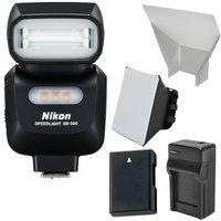 Nikon SB-500 AF Speedlight Flash & LED Video Light with EN-EL14 Battery & Charger + Softbox + Reflector Kit
