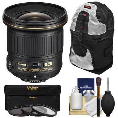 Nikon 20mm f/1.8G AF-S ED Nikkor Lens with 3 UV/CPL/ND8 Filters + Backpack + Kit