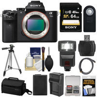 Sony Alpha A7 II Camera + 64GB Card + Case + Batt + Charger + Flash + Tripod Kit