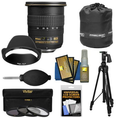 Nikon 12-24mm f/4 G DX AF-S ED-IF Zoom-Nikkor Lens with 3 UV/CPL/ND8 Filters + Pistol Grip Tripod + Pouch Kit