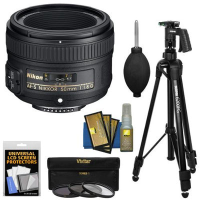 Nikon 50mm f/1.8G AF-S Nikkor Lens with 3 UV/CPL/ND8 Filters + Pistol Grip Tripod + Kit