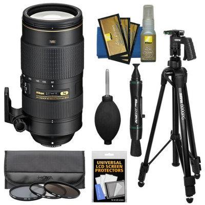 Nikon 80-400mm f/4.5-5.6G VR AF-S ED Nikkor-Zoom Lens with 3 Hoya UV/CPL/ND8 Filters + Pistol Grip Tripod + Kit