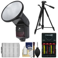 Xit Elite 5500 Auto Slave Flash with Built-in Diffuser with Batteries & Charger + Tripod + Accessory Kit