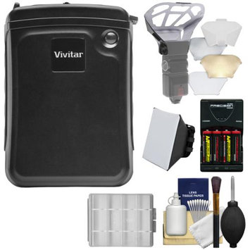 Vivitar External Battery Power Pack for Speedlight Flashes with Batteries & Charger + Flash Diffusers + Kit