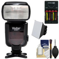 Vivitar Series 1 DF-372 Power Zoom DSLR Flash (for Canon EOS E-TTL) with Batteries & Charger + Diffuser + Cleaning Kit
