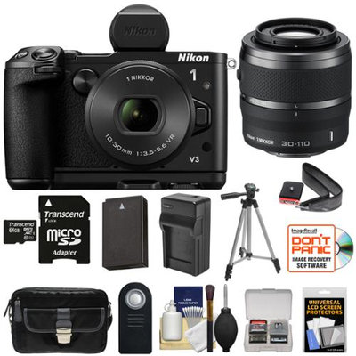Nikon 1 V3 Digital Camera with 10-30mm PD Lens, Viewfinder & Grip with 30-110mm Lens + 64GB Card + Battery & Charger + Tripod + Case + Kit + NIKON USA Warranty