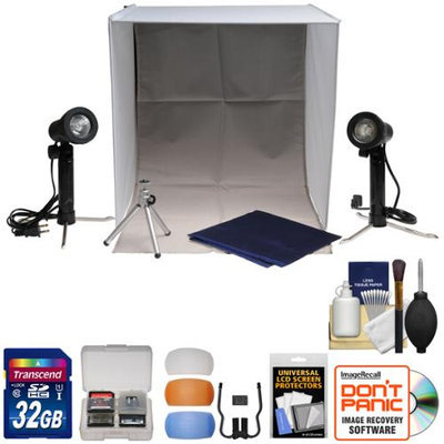 Xit Portable Light Box Photo Studio with 2 Backgrounds 2 Lights Tripod & Carrying Case with 32GB Card + Flash Diffusers + Accessory Kit