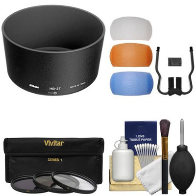 Nikon HB-37 Bayonet Lens Hood for 55-200mm f/4-5.6G DX VR & VR II 85mm f/3.5 VR Micro with 3 UV/CPL/ND8 Filters + Diffusers + Kit