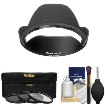 Nikon HB-23 Bayonet Lens Hood for 10-24mm 17-35mm f/2.8 12-24mm DX 16-35mm f/4 with 3 UV/CPL/ND8 Filters + Cleaning Kit
